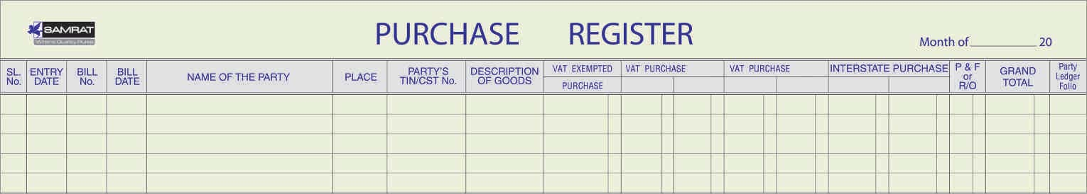 Stock, Sales & Purchase Register
